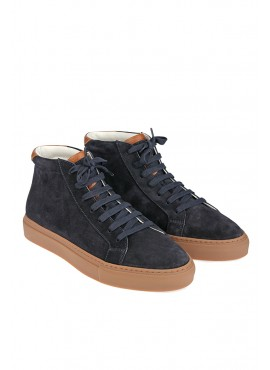 "Sneakers Brunello Cucinelli mid ""apollo"" in camoscio con grana"