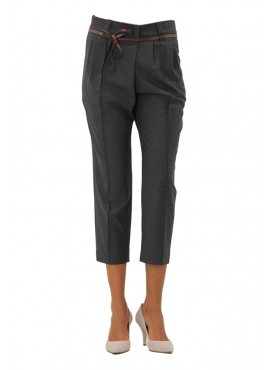 Pantaloon Brunello Cucinelli pencas Prince of Wales belted 98% 2% stretch wool composition